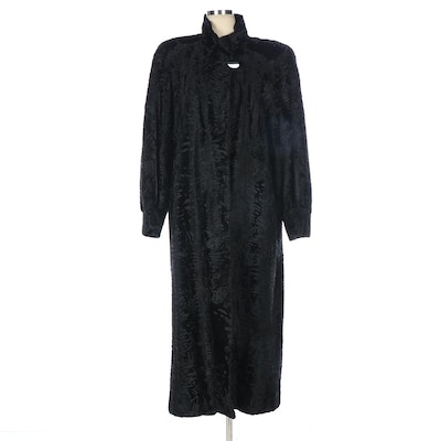 Givenchy Haute Fourrure Black Broadtail Lamb Fur Coat with Tapered Cuffs