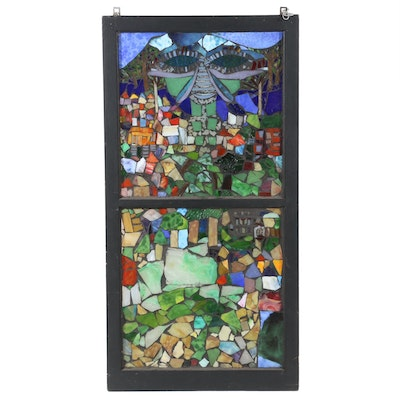 Daviea Davis Stained Glass Window of Abstract Village Landscape