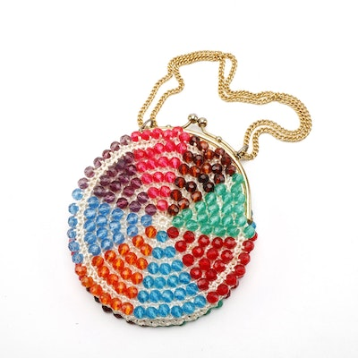 Multicolor Beaded Kiss Lock Shoulder Bag with Chain Strap