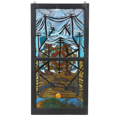 Daviea Davis Stained Glass Hanging Window of Scene with Sun and Trees