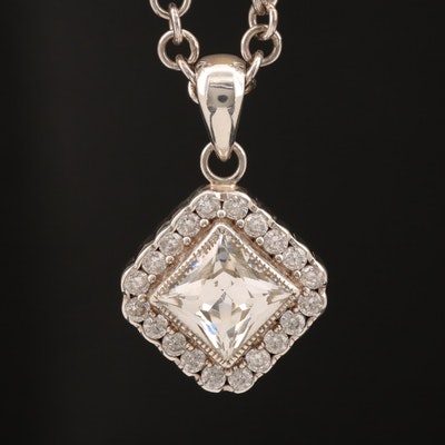 Laurent Leger 950 Silver Cubic Zirconia Pendant Necklace