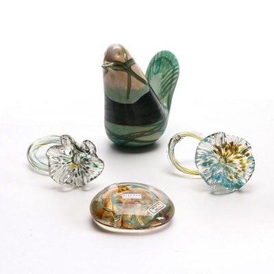 "Gozo Art Glass ""Springtime"" Bird Paperweight, Napkin Rings and Other Paperweight"