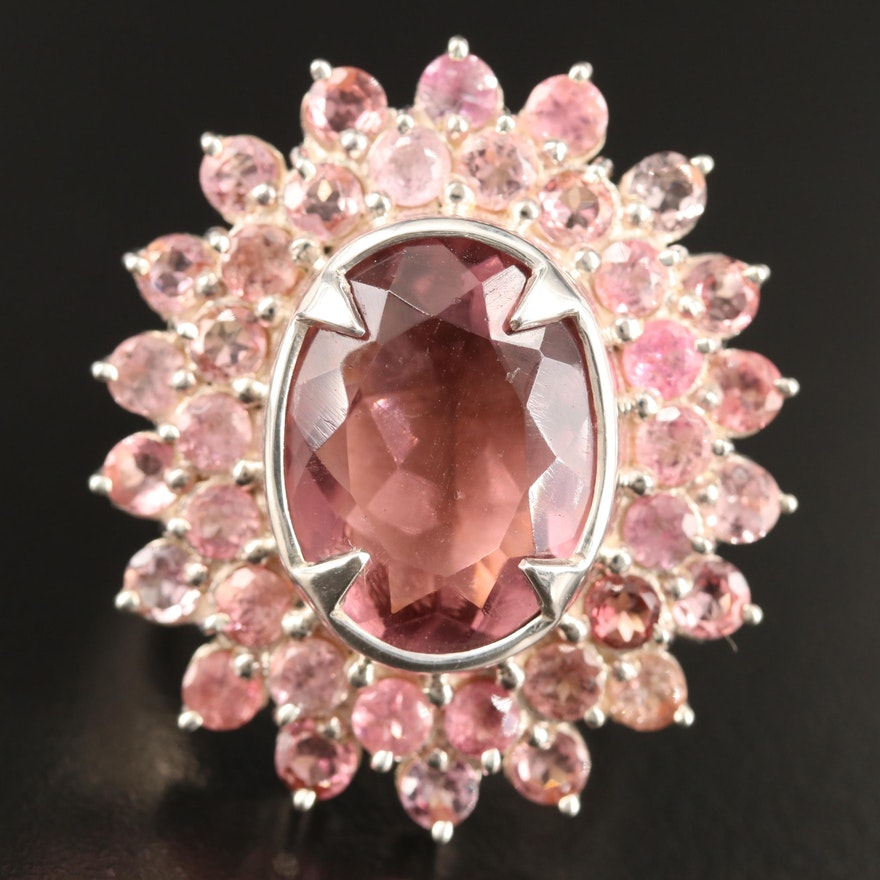 Laurent Leger 950 Silver Glass and Tourmaline Double Halo Ring
