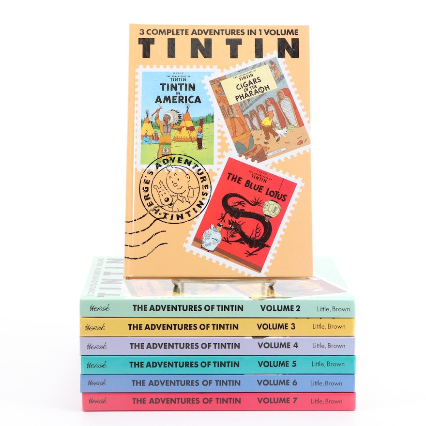 """""""The Adventures of Tintin"""" Volumes 1–7 by Hergé, Late 20th Century"""