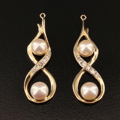 14K Pearl and Diamond Earring Enhancers