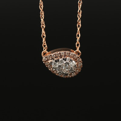 10K Rose Gold Diamond East to West Cluster Necklace