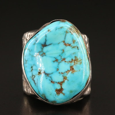 Southwestern Style Sterling Silver Turquoise Nugget Style Ring