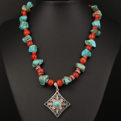 Sterling Turquoise and Coral Beaded Necklace