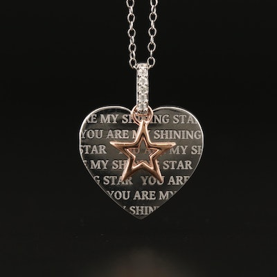 """You Are My Shining Star"" Sterling Silver Diamond Heart Pendant Necklace"