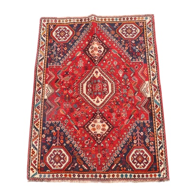 4'2 x 5'7 Hand-Knotted Caucasian Borchalu Wool Rug