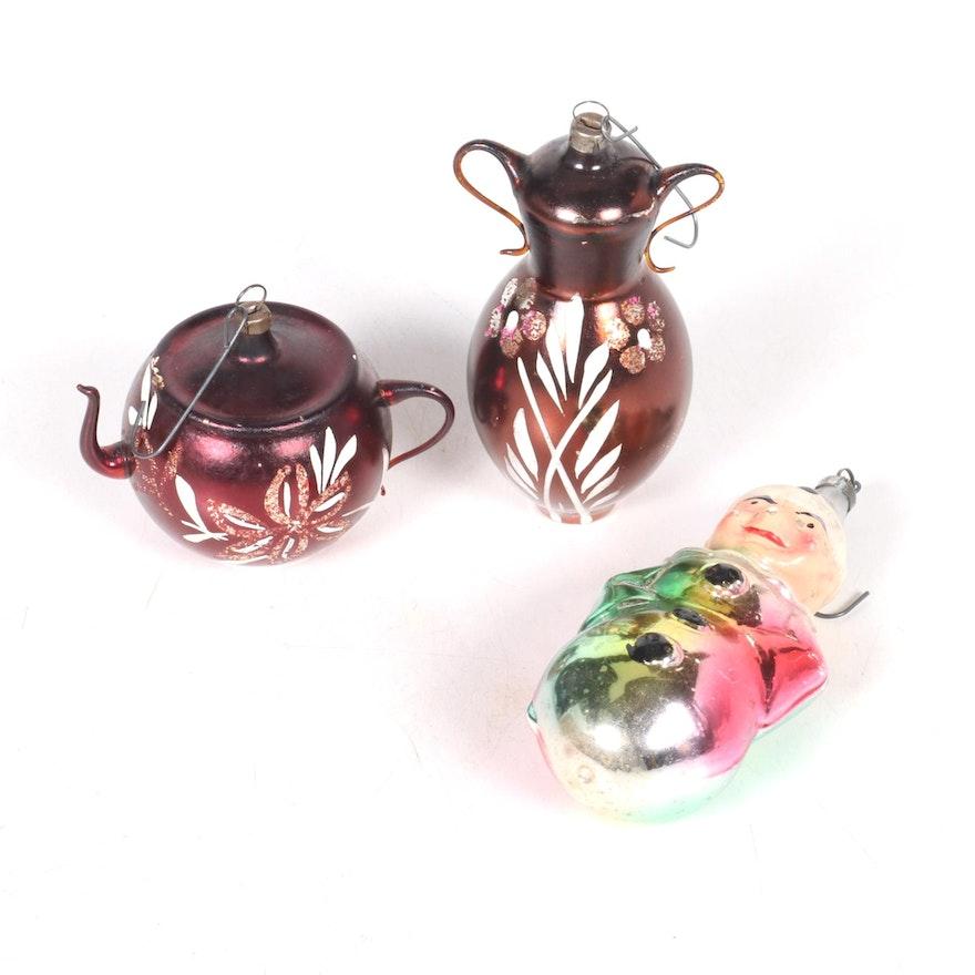 German Mercury Glass Christmas Tree Ornaments, Early to Mid 20th Century