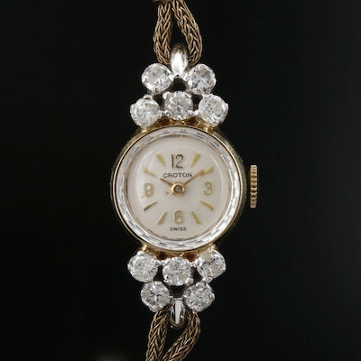 Vintage 14 Karat and 1.24 CTW Diamond Croton Stem Wind Wristwatch