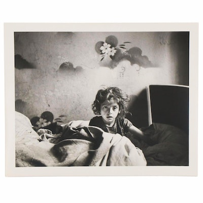 """Roman Vishniac Silver Gelatin Photograph """"The Only Flowers of Her Youth, Warsaw"""""""