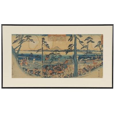 "Hiroshige Woodblock Triptych ""Battle at Awazugahara,"" Mid 19th Century"