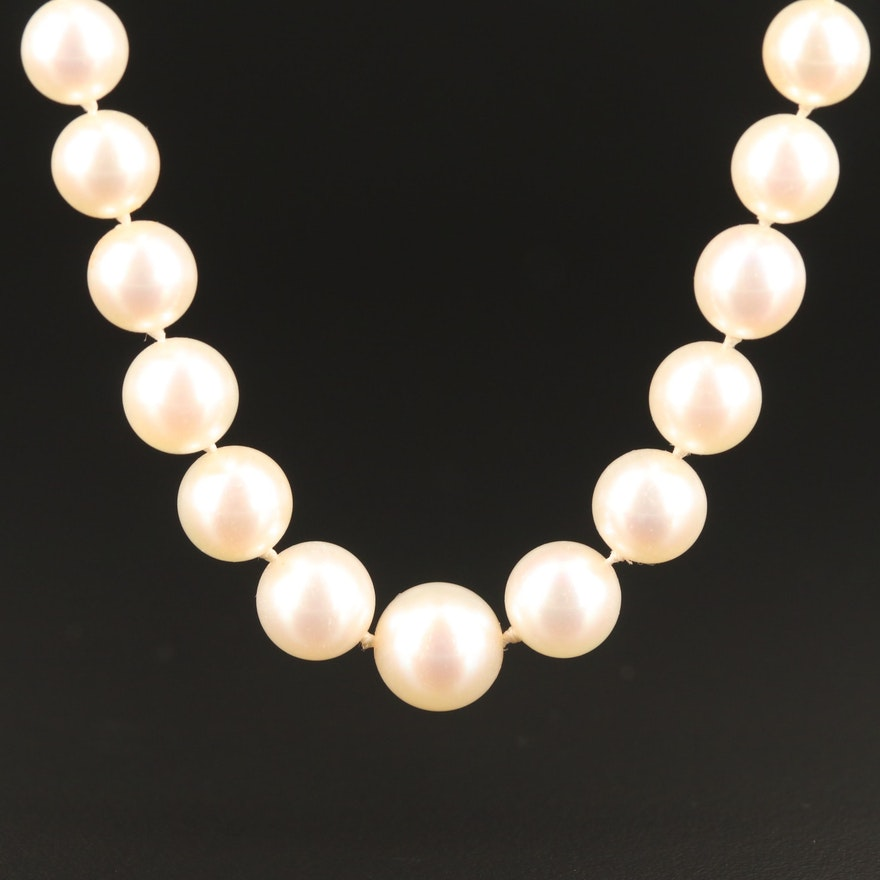 Vintage Graduated Pearl Necklace with 14K Diamond Clasp