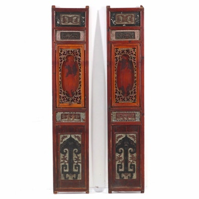Chinese Carved, Inlaid, and Painted Wood Panels