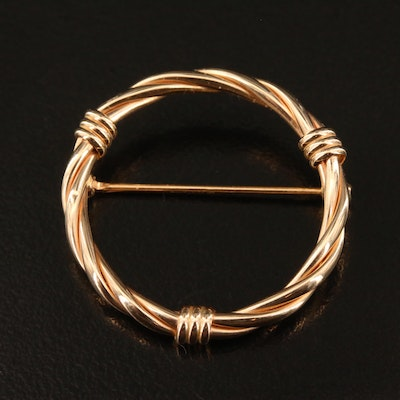 14K Twisted Cable Circle Brooch