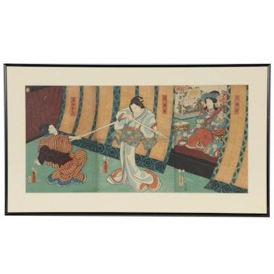 Japanese Ukiyo-e Woodblock Triptych, 19th Century