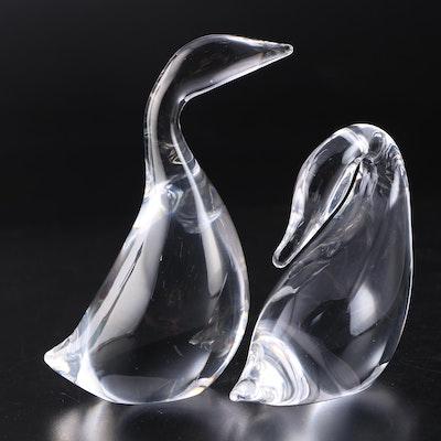 """Steuben Glass """"Gander"""" and """"Preening Goose"""" Figurines"""