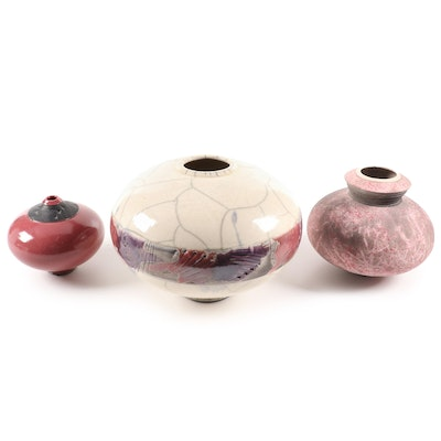 Gregg Neal and Robert Rainsford Smith Decorated Raku Pottery Vessels