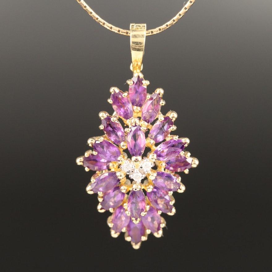 14K Diamond and Amethyst Cluster Enhancer Pendant Necklace