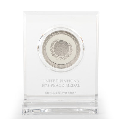 Franklin Mint Sterling Silver UN Peace Medal, 1973
