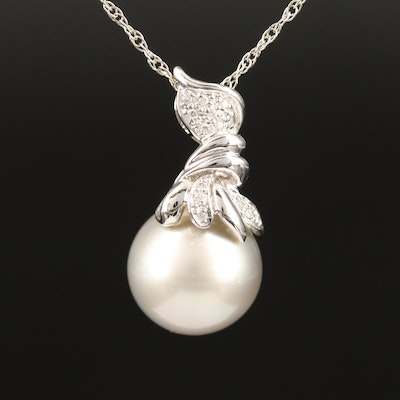 18K Diamond and Pearl Slide Pendant on 14K Chain Necklace