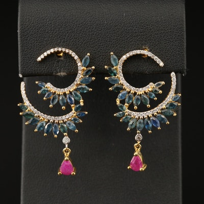 Sterling Silver Ruby, Sapphire and Cubic Zirconia Drop Earrings