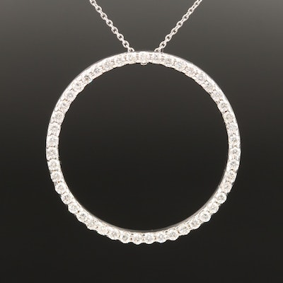 Roberto Coin 18K 1.17 CTW Diamond Circular Eternity Pendant Necklace