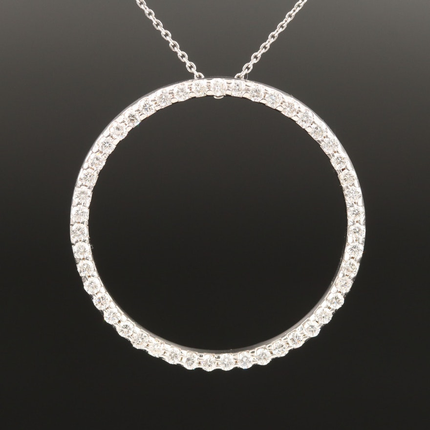 Roberto Coin 18K 1.17 CTW Diamond Circular Eternity Pendant Necklace
