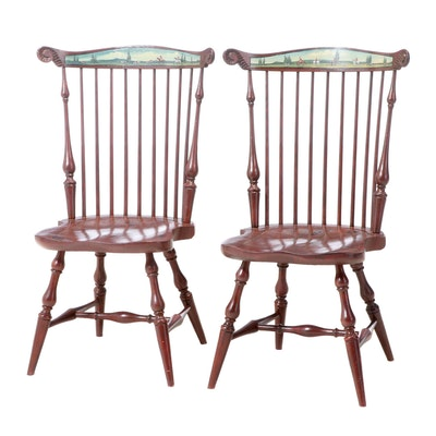 Pair of Grain-Painted Comb-Back Windsor Side Chairs with Fox Hunting Scenes