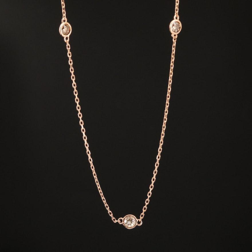 18K Bezel Set Diamond Station Necklace