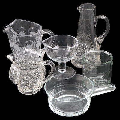 """Fostoria """"Coin"""" Glass Pitcher and Other Clear Glass Tableware, Early-Mid 20th C."""