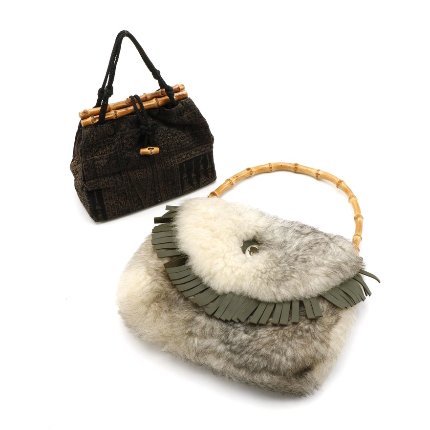 Shearling and Foliate Handbags with Bamboo Handles