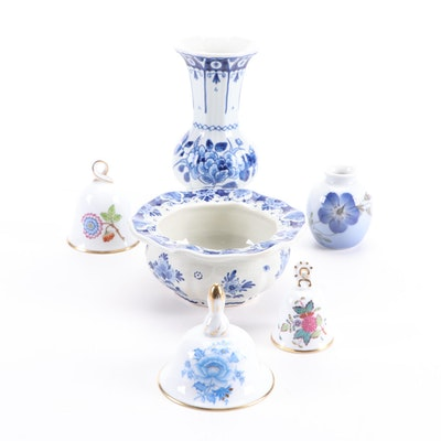 Herend Porcelain Annual  Bells with Royal Delft and Royal Copenhagen Vases