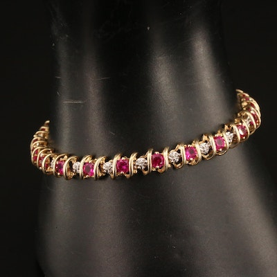 10K Ruby and Diamond Line Bracelet