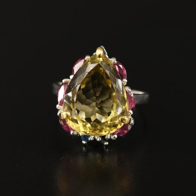 Sterling Citrine, Garnet and Sapphire Ring