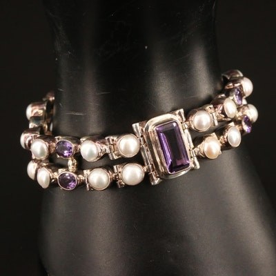 Sterling Silver Amethyst and Pearl Double Strand Bracelet