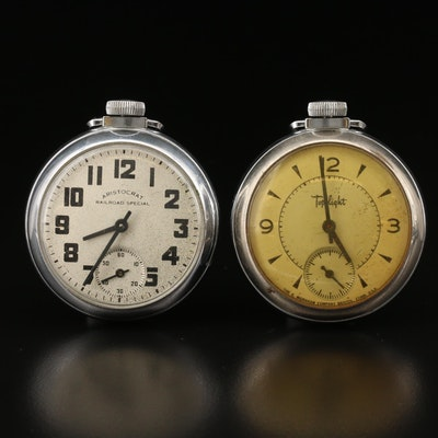 "Vintage Ingraham ""dollar"" Chrome Plated Brass Pocket Watches"
