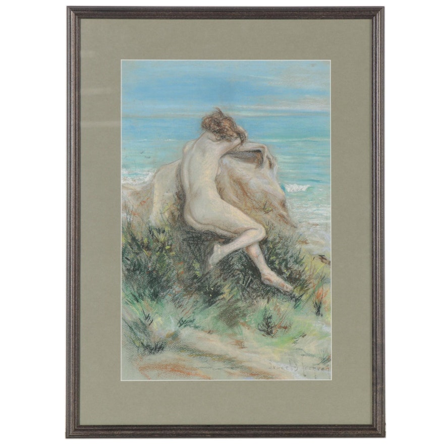 Pastel Drawing of Female Nude in Coastal Landscape, Mid to Late 20th Century