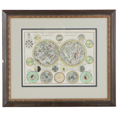 """Georges Louis Le Rouge Hand-Colored Engraving Map """"Le Globe Celeste En Deu..."""""""