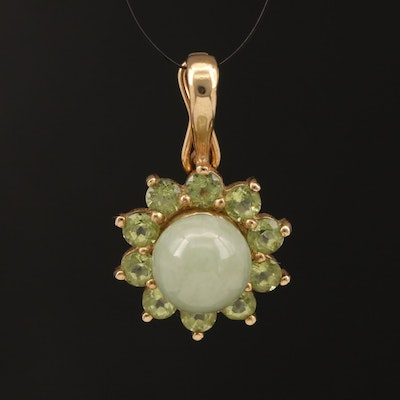 10K Jadiete and Peridot Pendant