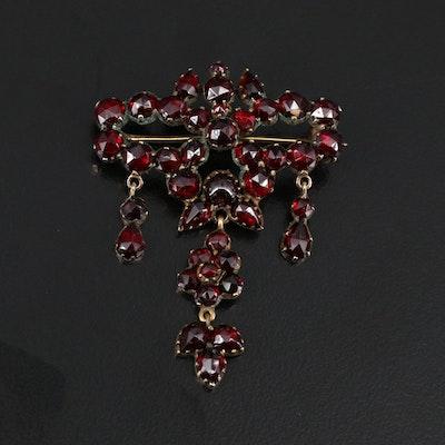 Antique Bohemian Garnet Sevigné Brooch