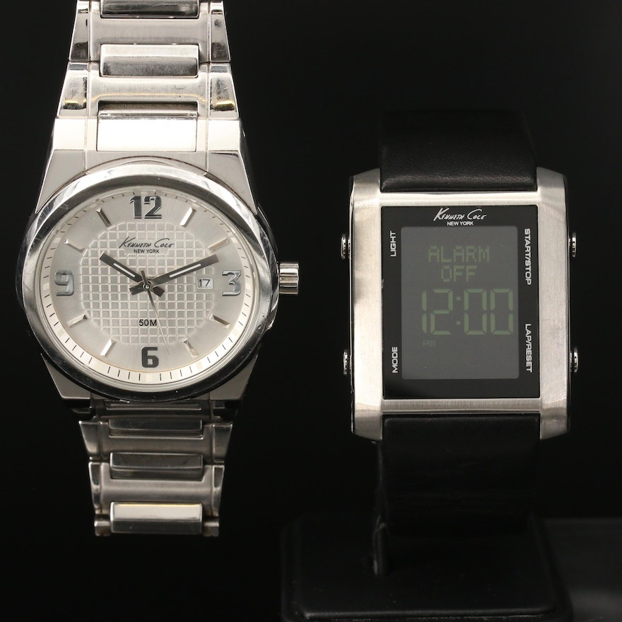 Kenneth Cole Analog and Digital Stainless Steel Quartz Wristwatches