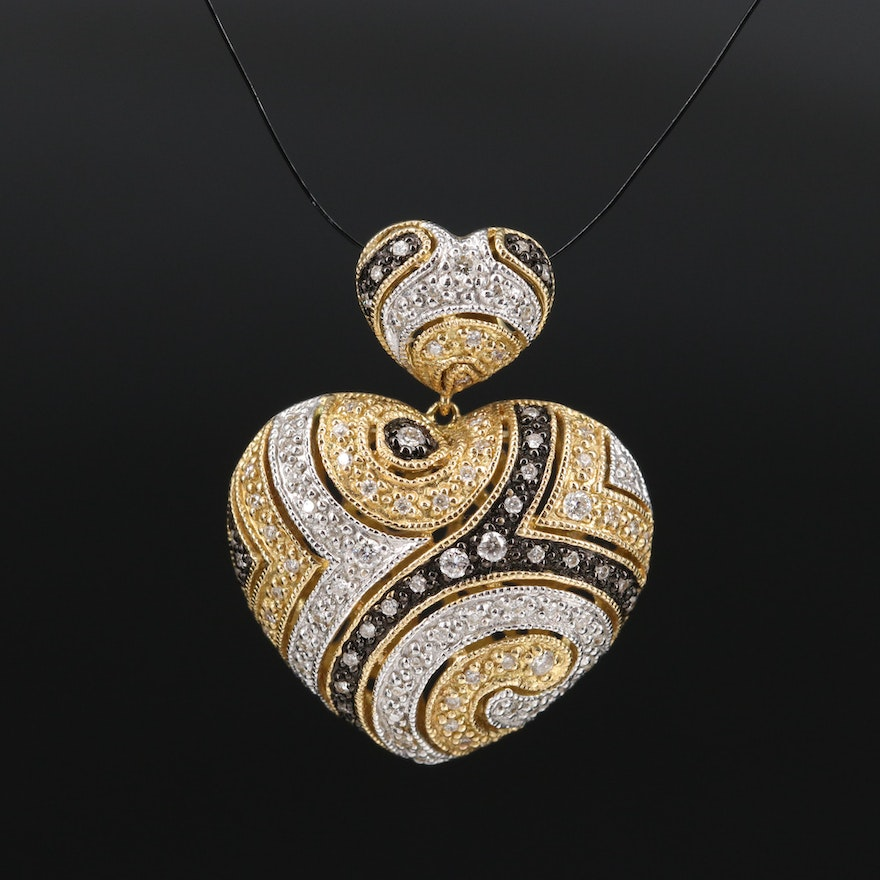18K Diamond Patterned Heart Pendant