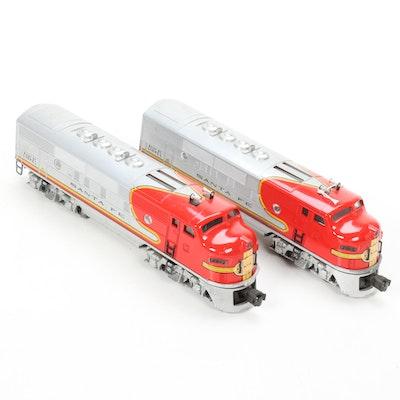 Lionel O Scale 2343 Santa Fe A-A Diesel Locomotive Pair, Mid-20th Century