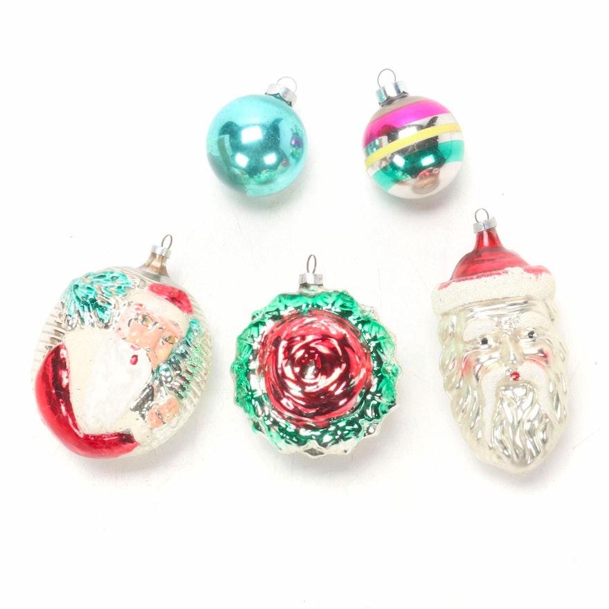 Santa, Wreath and Bulb Glass Christmas Tree Ornaments, Mid-20th C.