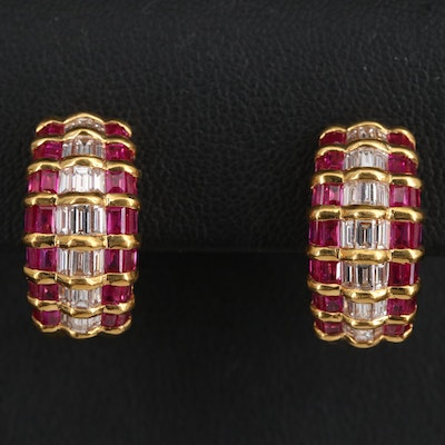 18K 1.60 CTW Diamond and Ruby J Hoop Earrings