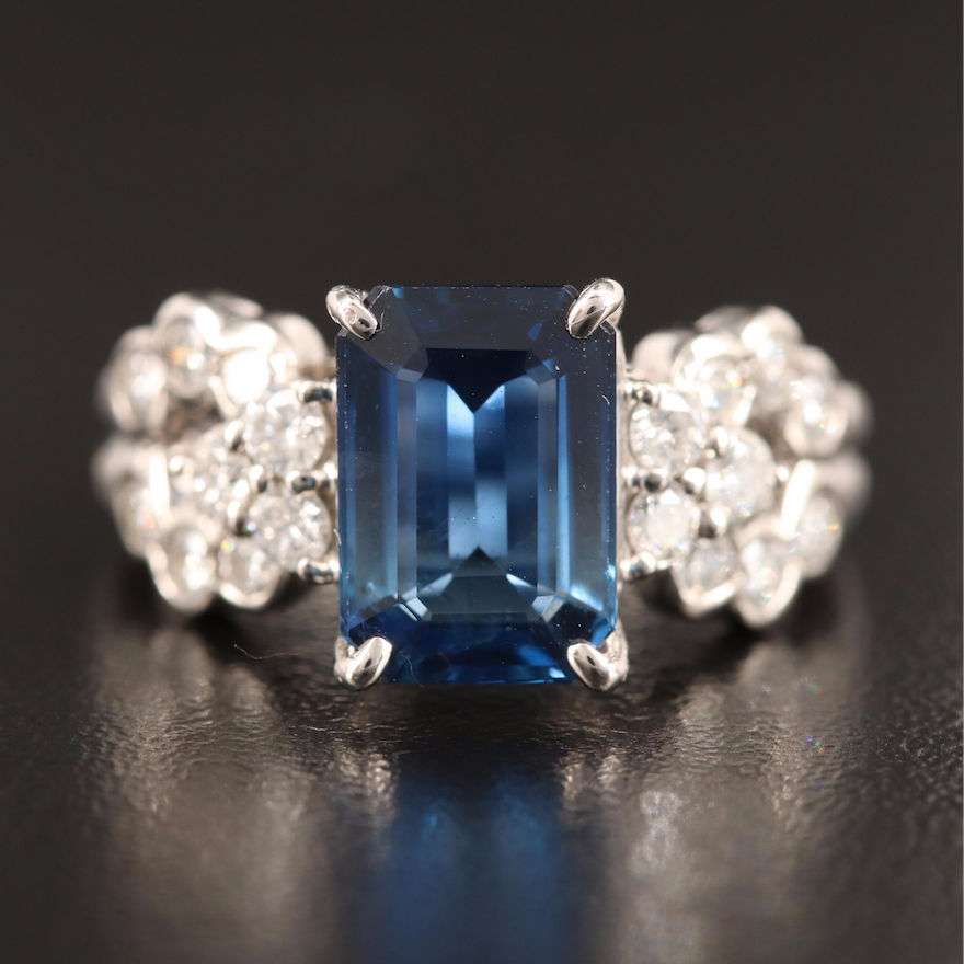 Platinum 3.06 CT Sapphire and Diamond Ring with GIA Report
