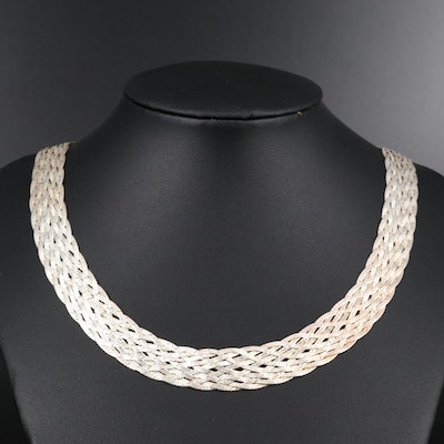 Sterling Silver Woven Herringbone Chain Necklace